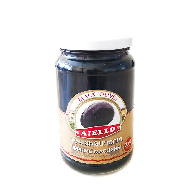 Маслины черные с косточкой 350г